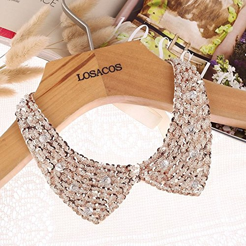 Satellite Ribbon Cable Plate - Vintage Gold Sequin beads knitted cloth Ribbon Fake collar Choker Necklaces NN.