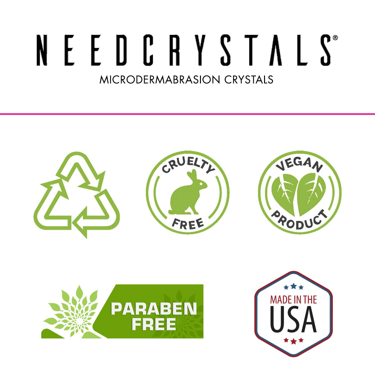 NeedCrystals Microdermabrasion Crystals, DIY Face Scrub with Salicylic Acid. Natural Facial Exfoliator Improves Acne Scars, Blackheads, Pore Size, Blemishes & Skin Texture. 8 oz