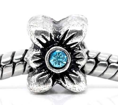 March Birthstone Blue Rhinestone Spacer Charm for European Bead Slide Bracelets Fashion Jewelry for Women Man