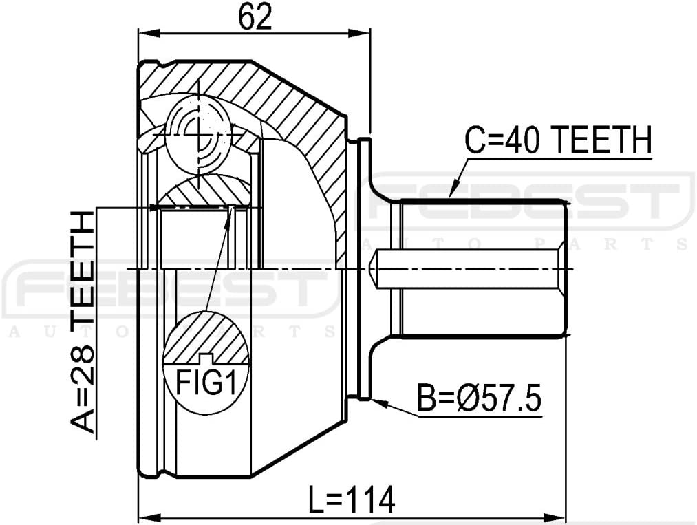 36001452 Febest # 2110-CA220-1 YEAR WARRANTY Outer Cv Joint 28X57.5X40