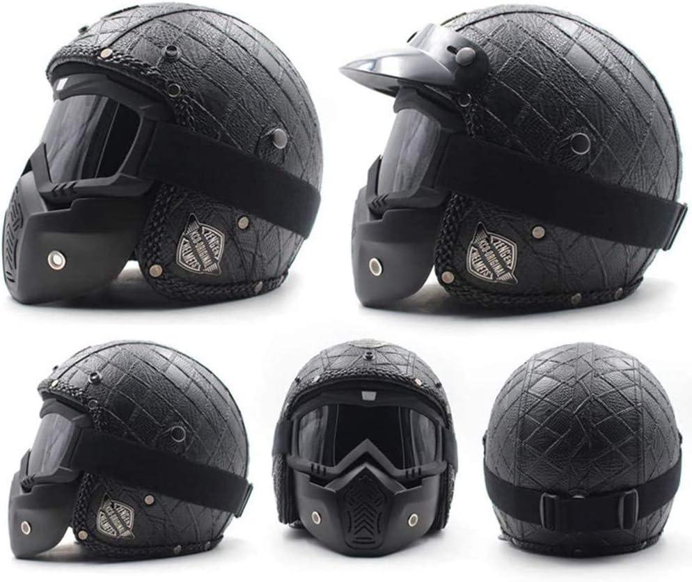 Motorcycle Half Face Helmet Vintage Open Face Helmet with Sun Visor DOT//ECE Approved Half Face Cycling Helmets Unisex-Adult Size Cruiser Scooter Motorcycle Half Helmet