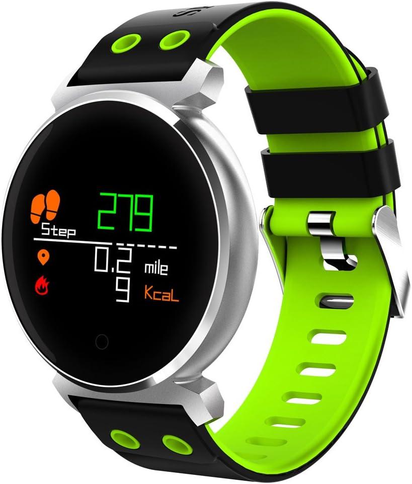CACGO K2 Bluetooth Dormir / Frecuencia cardíaca / Presión arterial / Oxígeno sanguíneo / Calorías Monitor Cámara Remota Reloj Inteligente para Teléfonos iOS / Android (Verde)