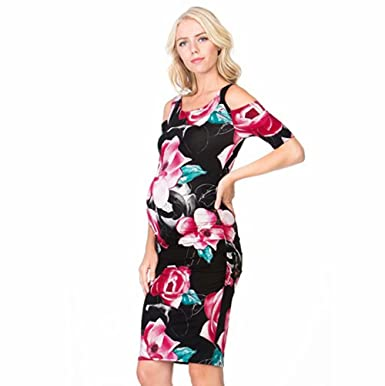 d9a11c79c28f8 Zerototens Women's Maternity Dress Short Sleeve Off Shoulder Floral Print  Pregnant Dress Maternity Clothes Cocktail Dress