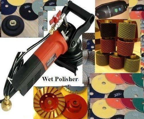 Variable Speed Polisher 2'' Wet Polishing Drum 7 Pcs Diamond Granite Polishing Pads 12+1 Pieces cup wheel concrete stone sink work cutout toolsmart