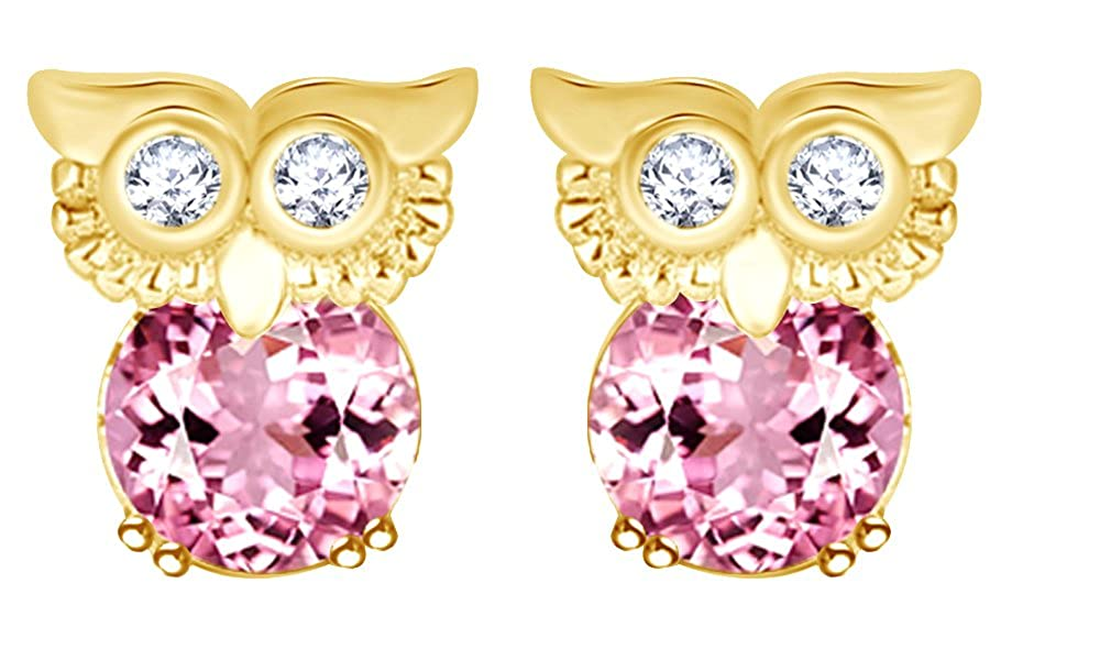 Round Cut Simulated Garnet Owl Stud Earrings In 14K Gold Over Sterling Silver