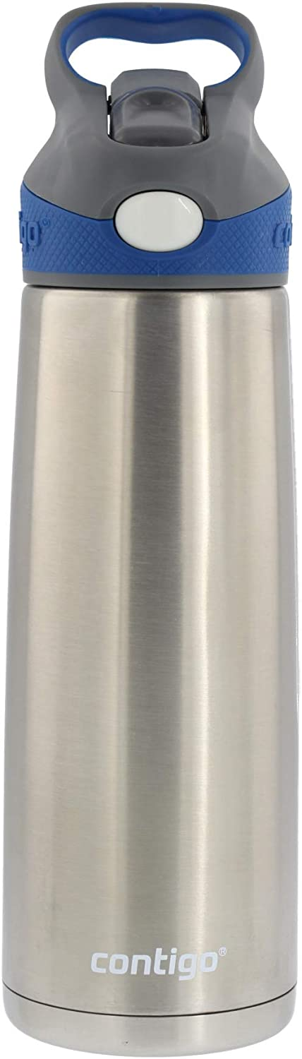 Contigo Autospout Straw Sheffield Stainless Steel Water Bottle with Vacuum Insulation - Ideal for Outdoor Lifestyles, Travel, Gym - BPA-Free, Carry Handle & Spout Cover, 20oz - Monaco