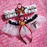 Customizable - Atlanta Falcons fabric handmade into bridal prom white organza wedding garter set with football charm