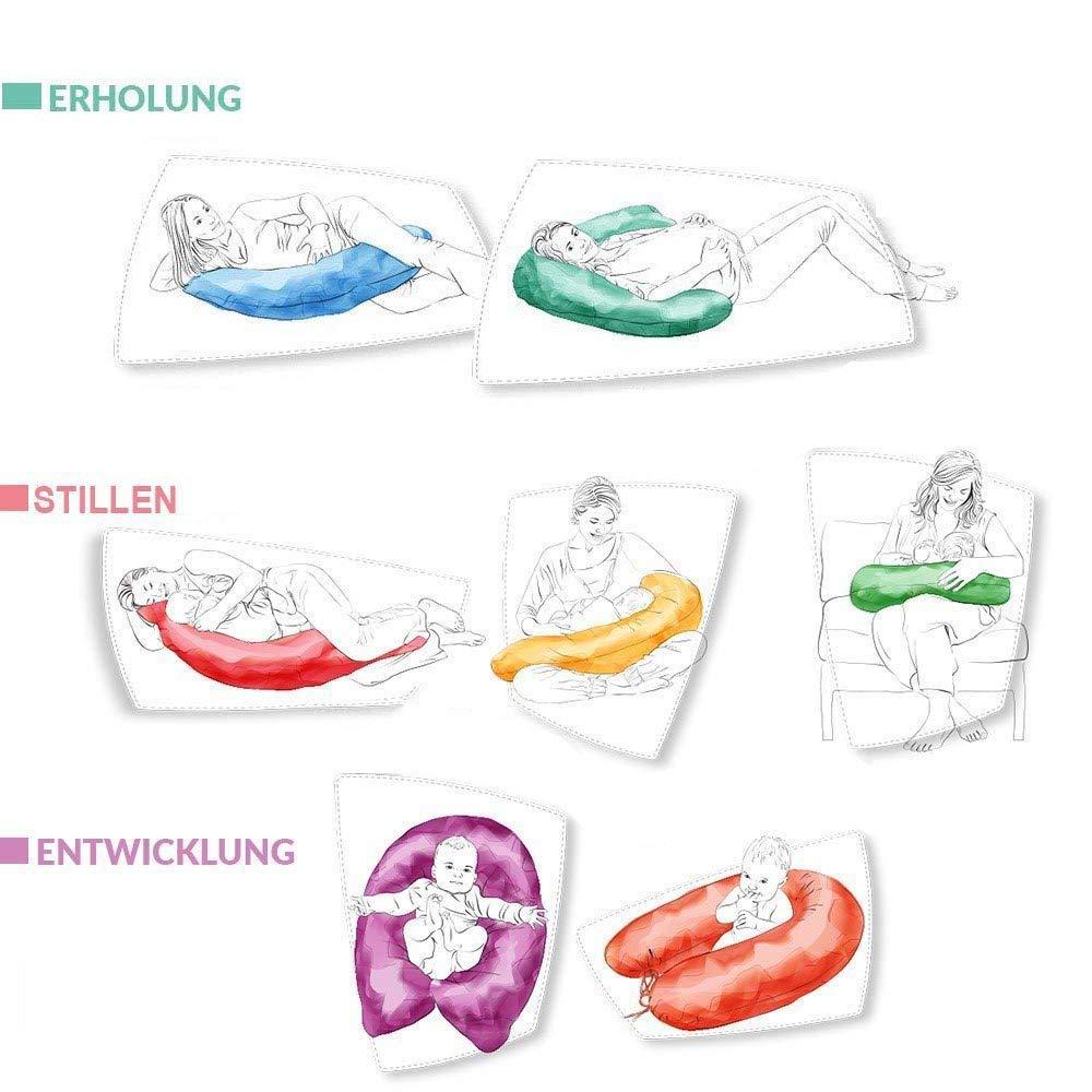 F/üllung: schadstoffgepr/üfte 3-D Faserb/ällchen /Ökotex zertifiziert Bezug mit Rei/ßverschluss Ideal f/ür unterwegs Sei Design Stillkissen Schwangerschaftskissen 170 x 30 cm