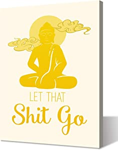 Wall Decor Dorm College Room Decor | Let That Shit Go | Gold Art Canvas Print Zen Buddha Picture Artwork Painting Poster for Living Room Bathroom Bedroom Office Home Decorations Framed Ready to Hang