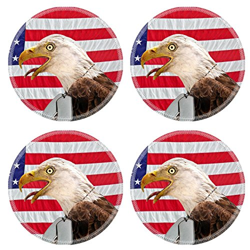 Liili Round Coasters Non-Slip Natural Rubber Desk Pads IMAGE ID: 4945729 Regal bald eagle wearing military dog tags on a flag]()