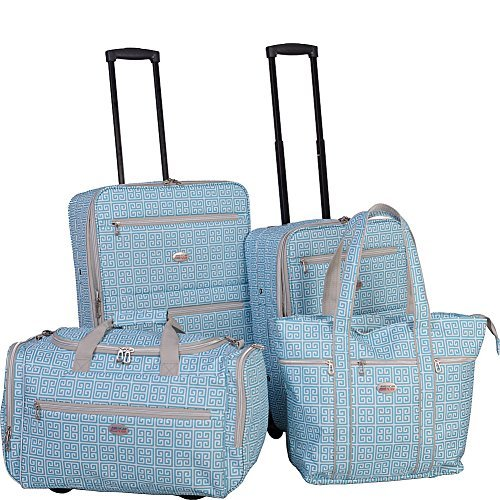 Image of American Flyer Greek Key 4-Piece Rolling Luggage Set Turquoise