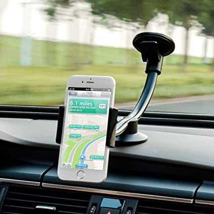 Long Arm Clamp iVoler Universal Dashboard with Double Clip Strong Suction Cup Cell Phone Holder Compatible iPhone Xs XS Max X 7 8 Plus 6 Plus Galaxy S9 S8 S7 Plus Note 9 AMUSA00091012-07 Car Phone Mount Windshield