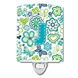 Caroline's Treasures Letter J Flowers and Butterflies Teal Blue Ceramic Night Light, 6 x 4'', Multicolor