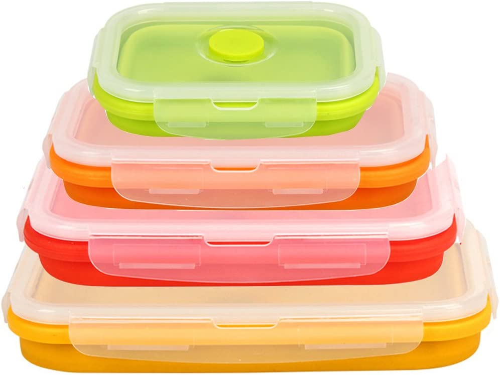 Set of 4 Collapsible Silicone Food Storage Containers Lunch Bento Box Camping Travel Bowls -BPA Free,Microwavable,Dishwasher and Freezer Safe By Hi Suyi