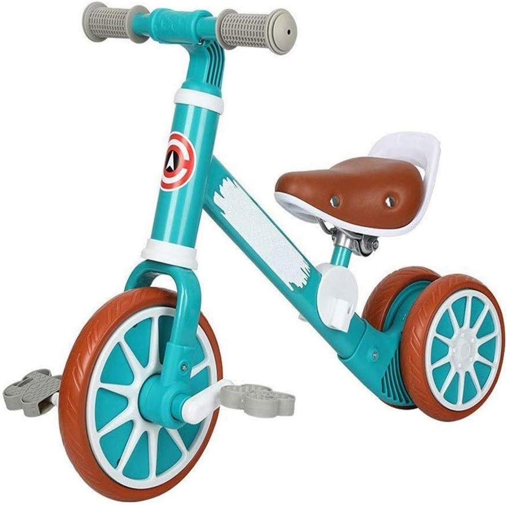 AJH Bicicleta de Equilibrio de los niños, 3 en 1 con el Pedal de Interior y al Aire Libre Triciclo portátil, Triciclo Deslizante Coche de bebé Equilibrio del Coche,Verde