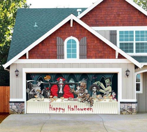 Dracula's Halloween Dinner - Outdoor Halloween Holiday Garage Door Décor (Frankenstein Halloween Door)