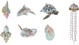 Rhinestone, Pearl & Glitter Blown Glass Nautical Christmas Tree Ornament Set Includes Sea Turtle, Stingray, and Dolphin - 7 Ornaments (Large Sea Collection)