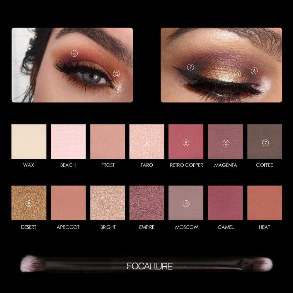 Eyeshadow Pallete Focallure Eyes Shadow Color Palette Shimmer And Matte 14 Colors Palette Eyeshadows Earth Colors Makeup Beauty & Health