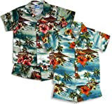 RJC Boys Woodie Surf Hibiscus 2pc Set in Blue Shirt Matching Shorts - 7T