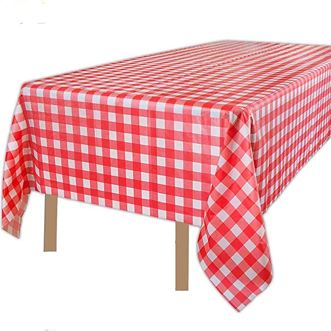 """54/"""" x 108/"""" Oblong Plastic Party Red Table Cloth Cover 1 x RED"""