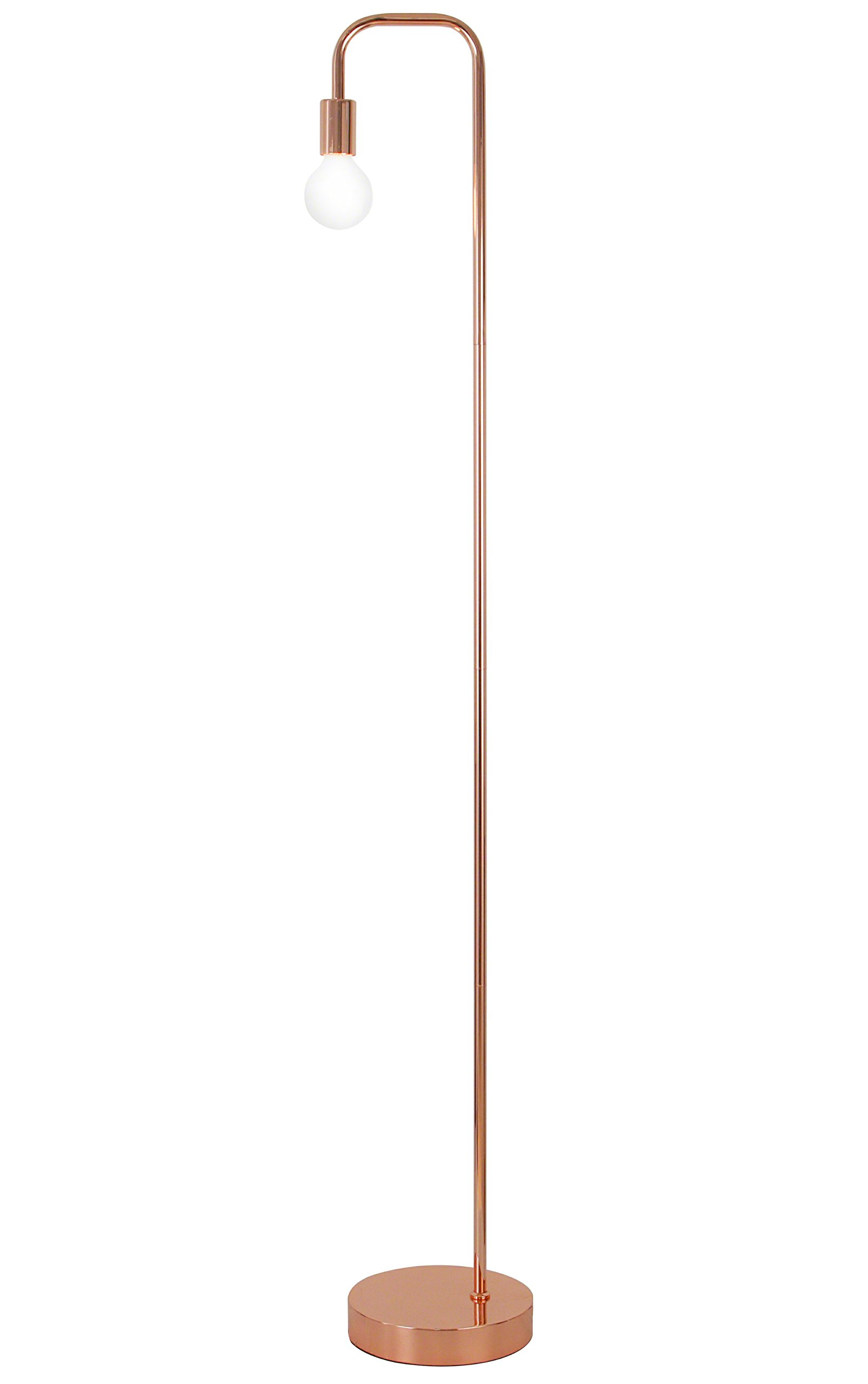 Floor Lamp for Living Room, Industrial Rose Gold Metal Reading Lamp, Contemporary Bedroom Décor, Led Bulb 4W Gifts
