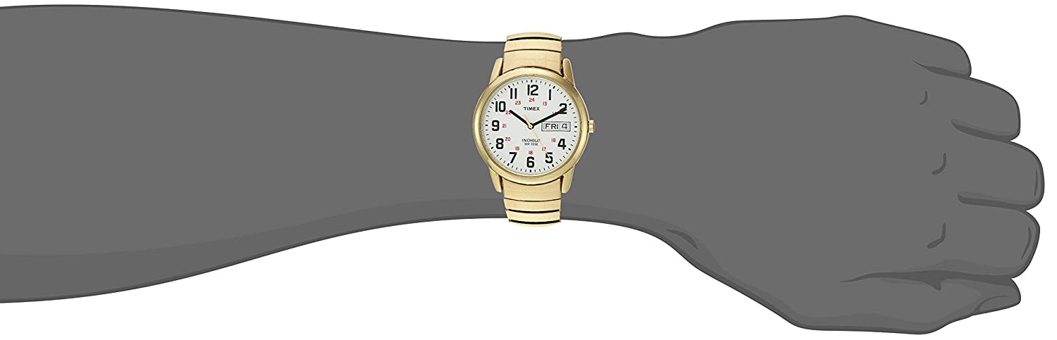 Timex Men s T2N092 Easy Reader Gold-Tone Extra-Long Stainless Steel Expansion Band Watch
