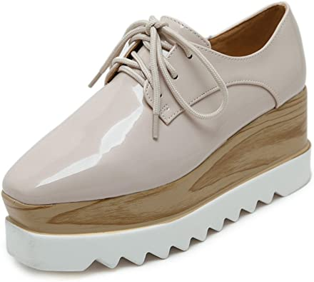 TENGYUFLY Womens Platform Wedges Oxfords Classic Casual Lace Up Mid Heels Wingtips Square Toe Shoes