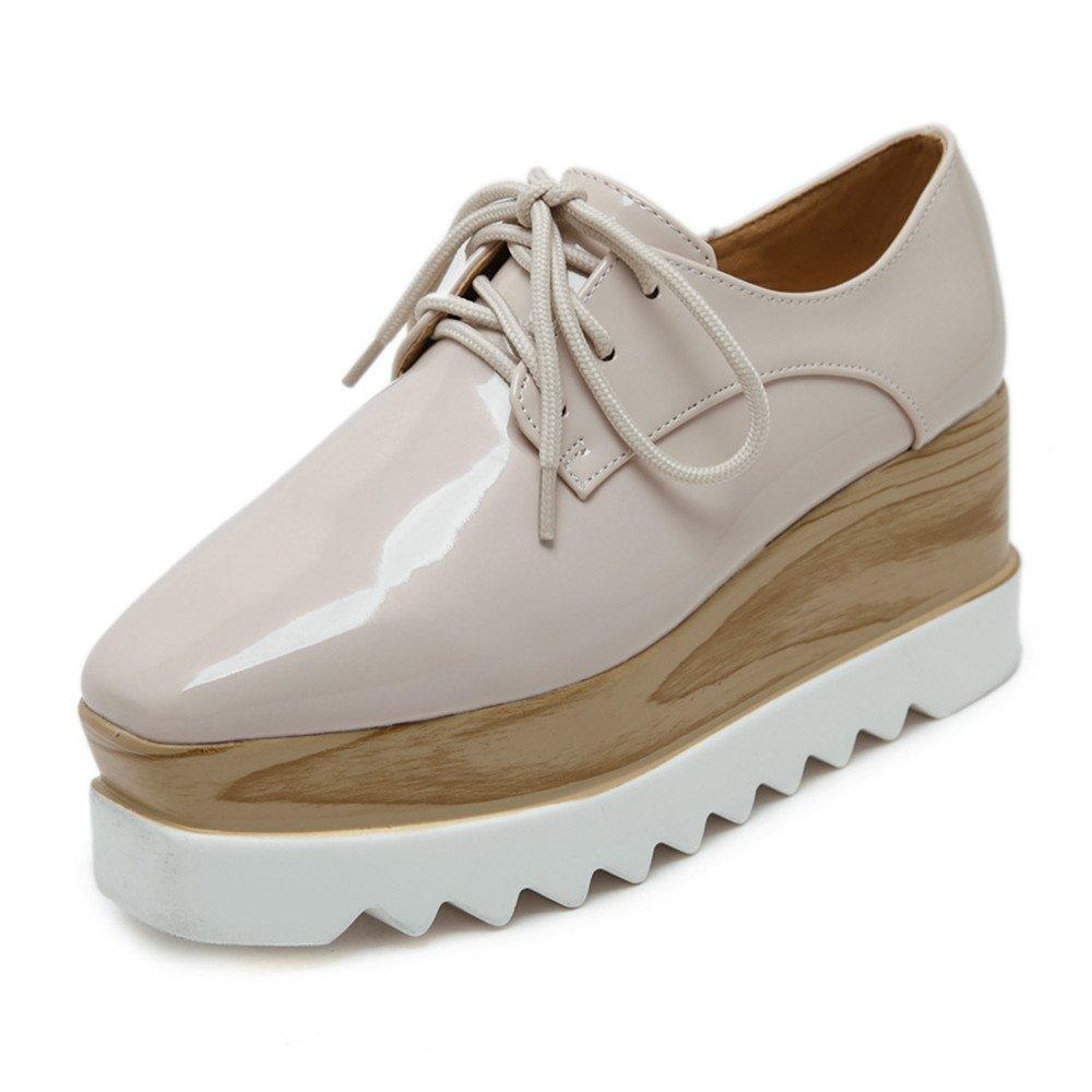 Tengyu Women's Platform Wedges Oxfords Classic Casual Lace Up Mid Heels Wingtips Square Toe Shoes (US5.5=EU37=23.3CM, Beige)