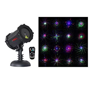 LedMAll Bluetooth RGB Firefly with Large Motion Patterns Laser Christmas Lights, Decorative, Landscape and Garden Projector with Remote Control and Timer