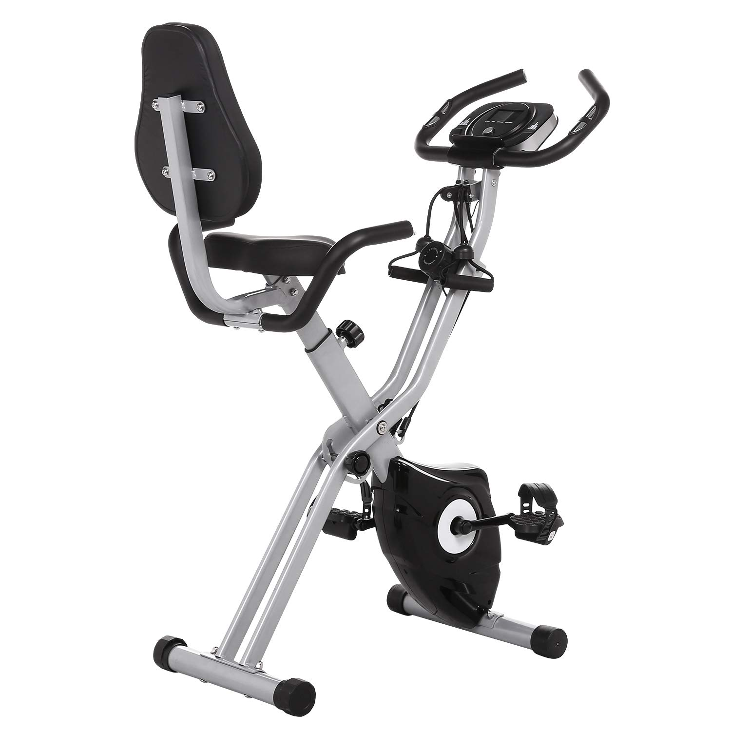 ANCHEER 2 in1 Folding Exercise Bike, Slim Cycle Indoor Stationary Bike with 10-Level Adjustable Magnetic Resistance and Arm Training Bands (Black)
