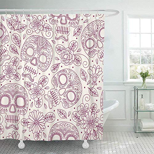 Shower Curtains 72x72 Landscape Print Dead Skull and Flowers Mexican Freehand Drawing Sugar Tattoo Halloween Mexico Horror Skeleton Death Waterproof Polyester Solid Grommet with 12 Hooks