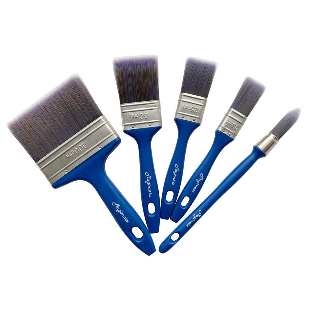Magimate Paint Brush Set, Professional Painting Brushes with an Elegance Trim Brush for Walls, Cabinets Pack of 5