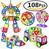 Magnetic Building Blocks, 108PCS Magnets Blocks Educational Stacking Blocks Toddler Toys Construction Stacking Kids Toys Educational and Creative Imagination Development Toys for Toddlers and Kids, ABS Plastic, Instruction Booklet Included (108)