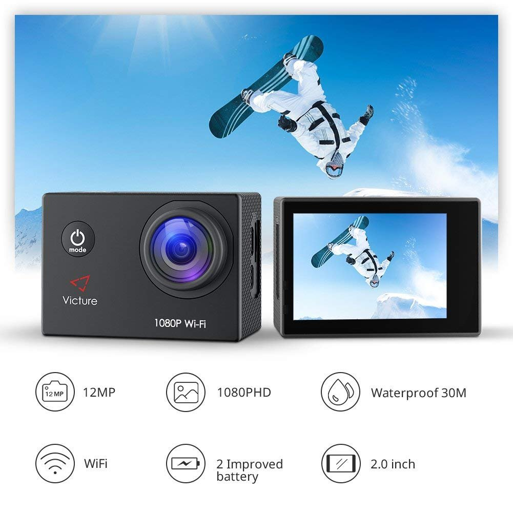 Victure Action Camera Full HD 1080P WiFi Waterproof Underwater Camcorder 2 LCD 170 Degree Ultra Wide Angle 30 m Sports Helmet Cam with 2 Batteries and Free Accessories by Victure (Image #3)
