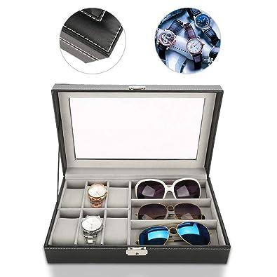 TMISHION Caja de Almacenamiento para Gafas y Relojes de 9 Compartimentos, Caja de Reloj de