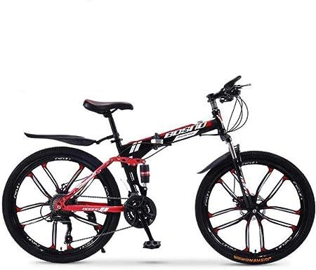 MYPNB Bicicletas BMX Bicicleta de montaña Plegables, 24 de Velocidad Doble Freno de Disco Completo Suspensión Anti-Slip, Variables bicis de Carreras de Velocidad for Hombres y Mujeres 5-25: Amazon.es: Hogar