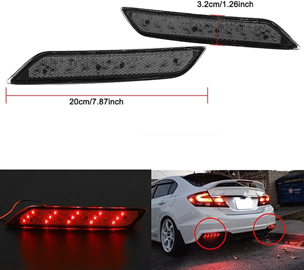 Brake /& Rear Fog Lamps Function as Tail VOFONO Red Lens 30-SMD LED Bumper Reflector Lights For 2013-2015 Honda Civic Sedan