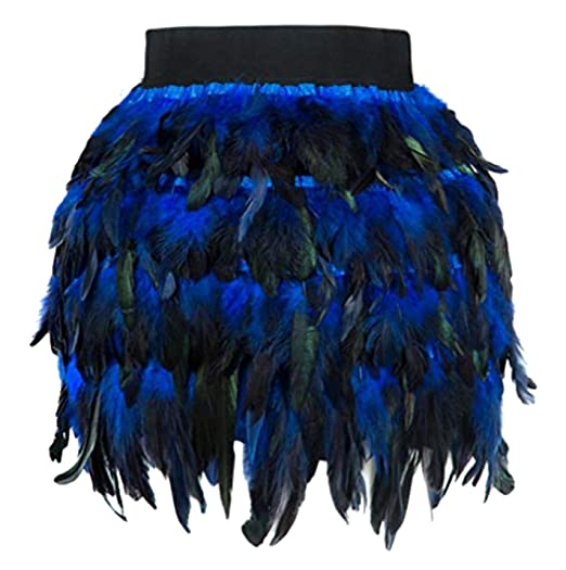 a3fb164d1 Women's High Waist Feather Mini Skirt for Stage, Performance, Party (Blue, X