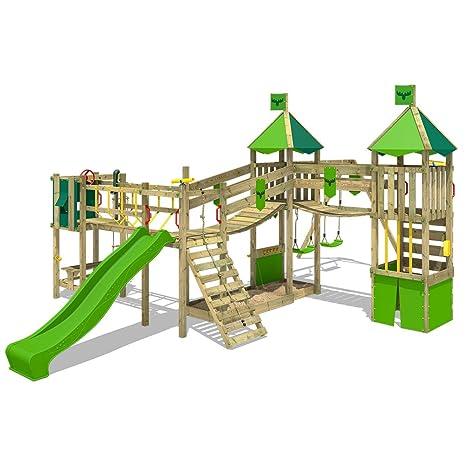 e94caf8f44 FATMOOSE Parco giochi FunnyFortress Free XXL Torre da gioco Gioco da esterno  per bambini con altalena