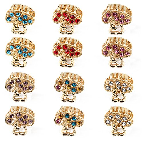 Yeshan Pack of 12pcs Golden Love Pattern Metal Mini Jaw Clip ,Crystal and Rhinestone Claw Hair Clip Barrette