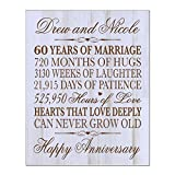 Personalized 60th Wedding Anniversary Wall Plaque Gifts for Couple, Custom Made 60th Anniversary Gifts for Her,60th Anniversary Gifts 12'' W X 15'' H Wall Plaque By LifeSong Milestones (DW)