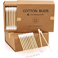 JJSFJH 200pc Count Bamboo Organic Cotton Swabs, Bamboo Cotton Swab Wood Sticks Disposable Buds Cotton, For Beauty Makeup…