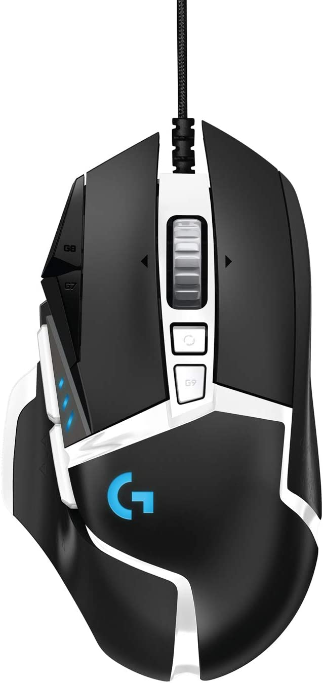 Logitech G502 HERO High Performance Gaming Mouse Special Edition, HERO 16K Sensor, 16 000 DPI, RGB, Adjustable Weights, 11 Programmable Buttons, On-Board Memory, PC / Mac - Black / White: Amazon.co.uk: Computers & Accessories