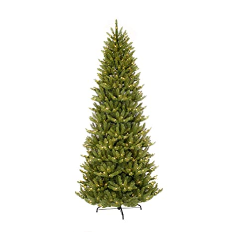 Fraser Fir Christmas Trees.Puleo International 7 5 Foot Pre Lit Slim Fraser Fir Artificial Christmas Tree With 500 Clear Ul Listed Lights Green