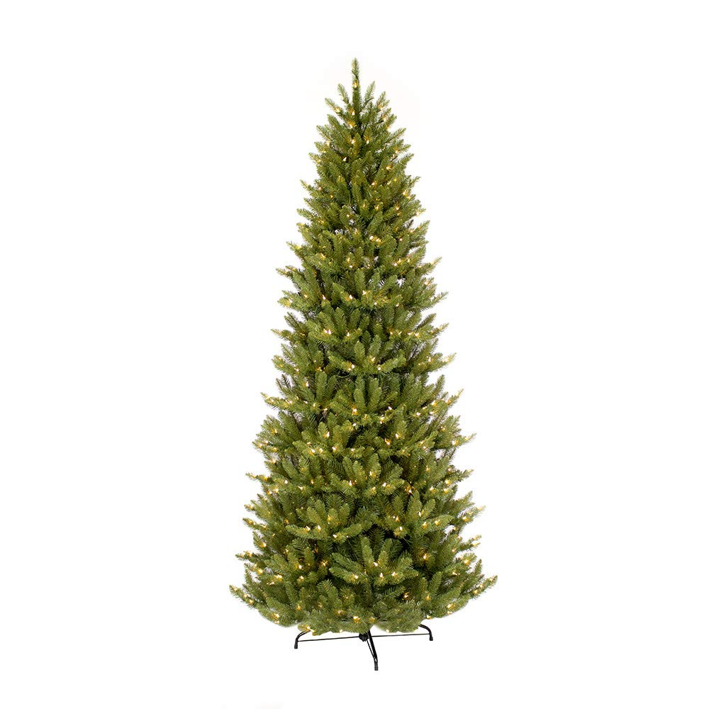 Puleo International 10-Foot Pre-Lit Slim Fraser Fir 900 UL Clear Lights Artificial Christmas Tree, Ft, Green