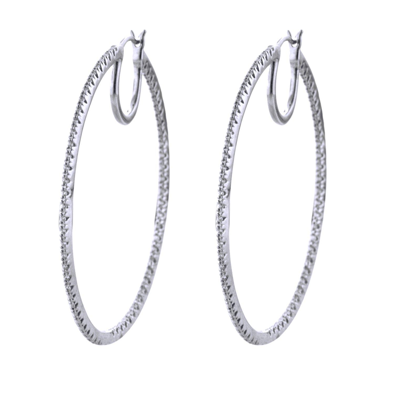 Sterling Silver 1/3cttw Hoops Earring