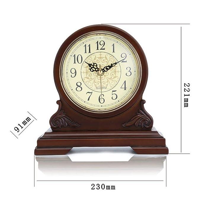 HONGNA Reloj de Soporte Números arábigos Antiguos de un Solo Lado de Escritorio Simple Reloj de Alarma Mute Reloj de Mesa Decorativo de Madera: Amazon.es: ...