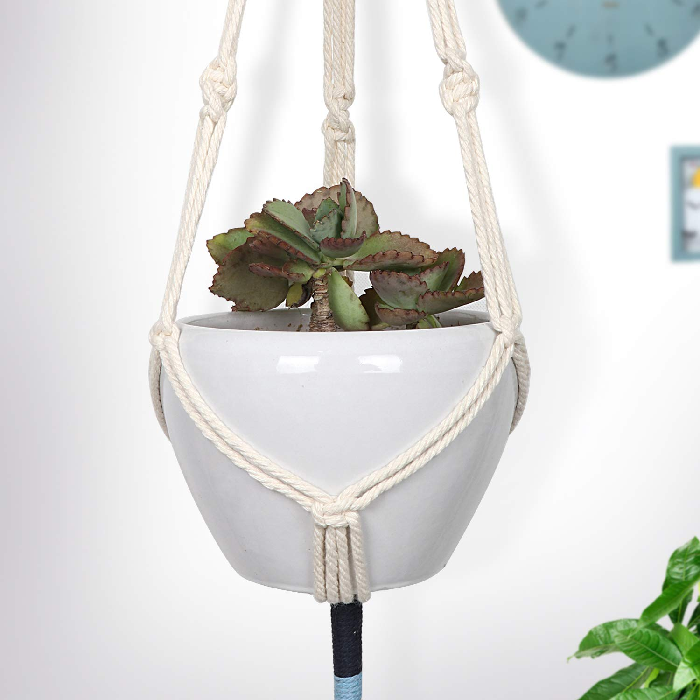 Macrame Plant Hangers - 4Pcs Indoor Outdoor Wall Hanging Planter - Planters Basket Holder - Plants Flower Pot Hanger - Cotton Rope Wood Ring Boho Decor, 41 Inch