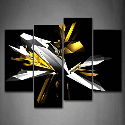 Digital art abstract black white yellow wall art painting pictures print on canvas abstract the picture