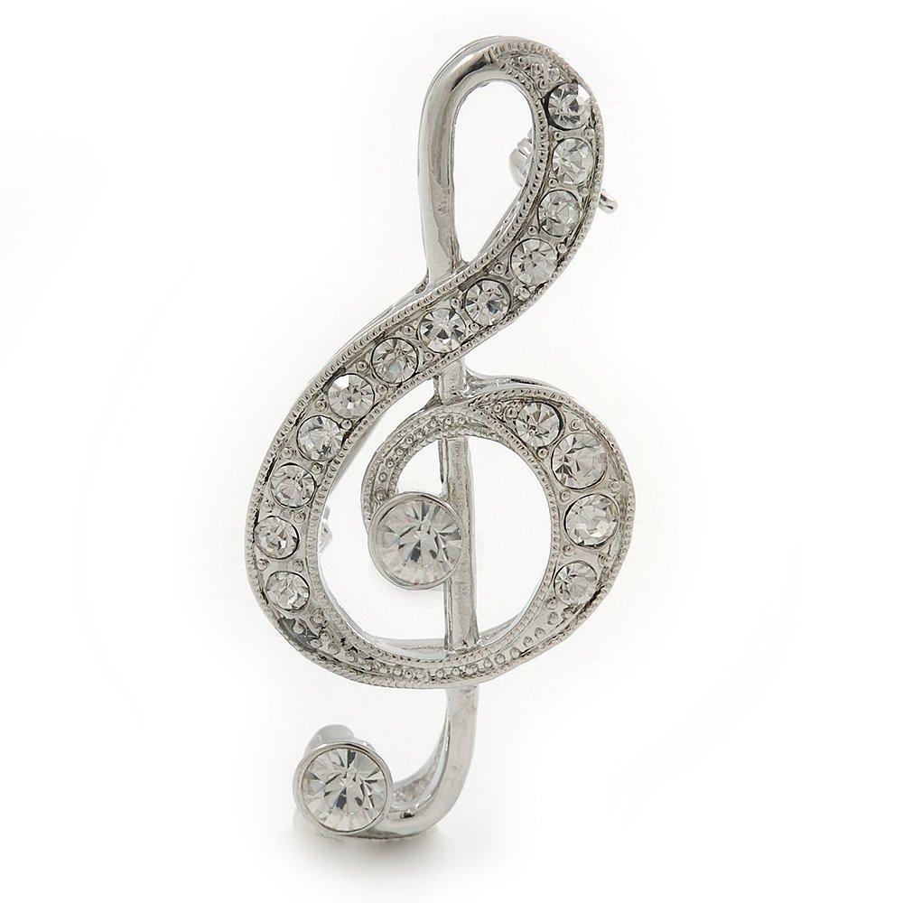 Avalaya rhodium plaqué Diamante \'Clé de Sol\' Broche–50mm L